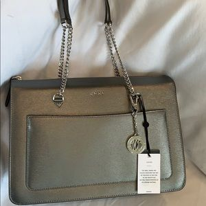 DKNY Bryant top zipper Pewter Tote
